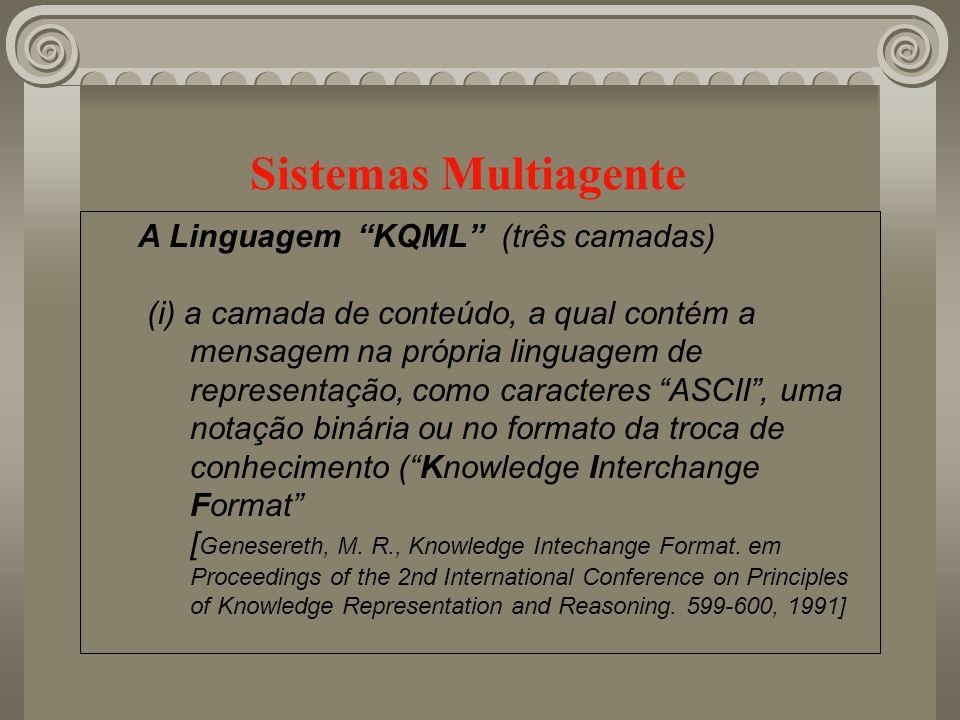 Sistemas Multiagente A Linguagem KQML (três camadas) (i) a camada de conteúdo, a qual contém a mensagem na própria linguagem de representação, como ca