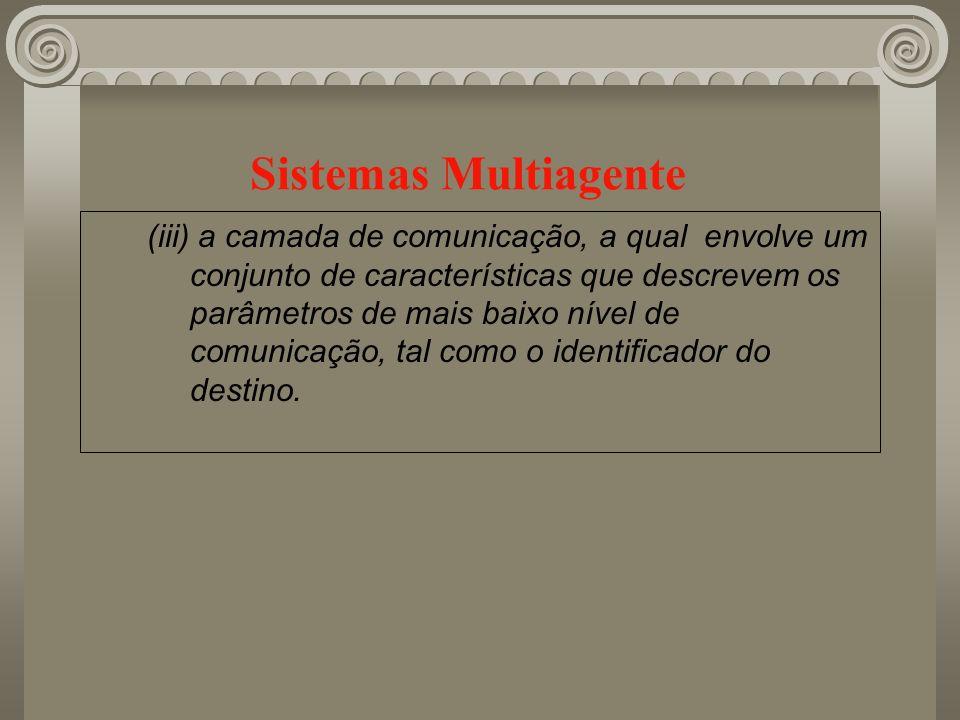 Sistemas Multiagente (iii) a camada de comunicação, a qual envolve um conjunto de características que descrevem os parâmetros de mais baixo nível de c