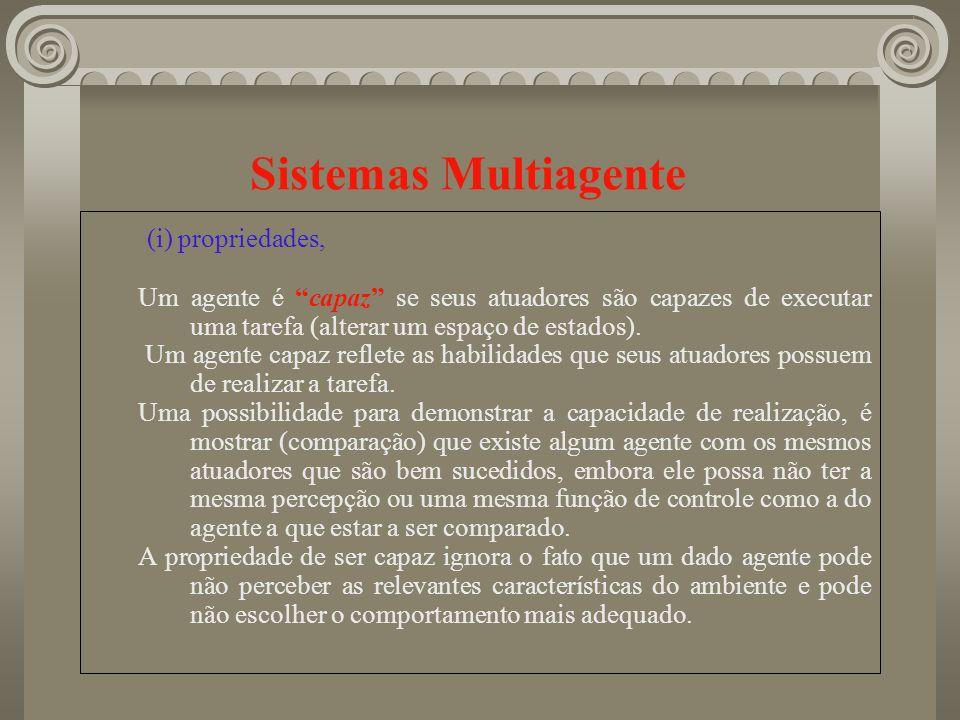 Sistemas Multiagente (i) propriedades, Um agente é capaz se seus atuadores são capazes de executar uma tarefa (alterar um espaço de estados). Um agent
