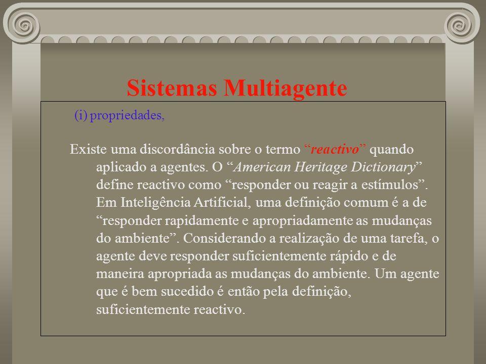 Sistemas Multiagente (i) propriedades, Existe uma discordância sobre o termo reactivo quando aplicado a agentes. O American Heritage Dictionary define