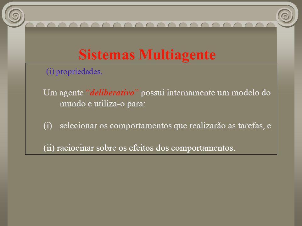 Sistemas Multiagente (i) propriedades, Um agente deliberativo possui internamente um modelo do mundo e utiliza-o para: (i)selecionar os comportamentos