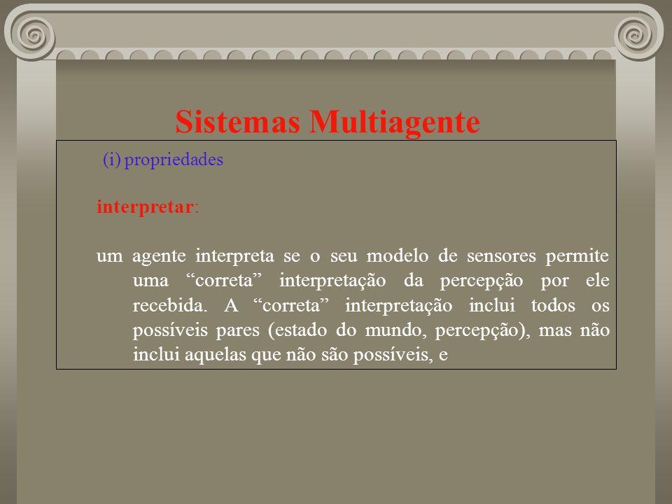 Sistemas Multiagente (i) propriedades interpretar: um agente interpreta se o seu modelo de sensores permite uma correta interpretação da percepção por