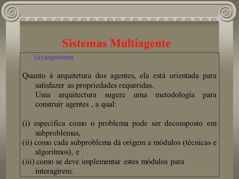 Sistemas Multiagente (ii) arquitetura Quanto à arquitetura dos agentes, ela está orientada para satisfazer as propriedades requeridas. Uma arquitectur