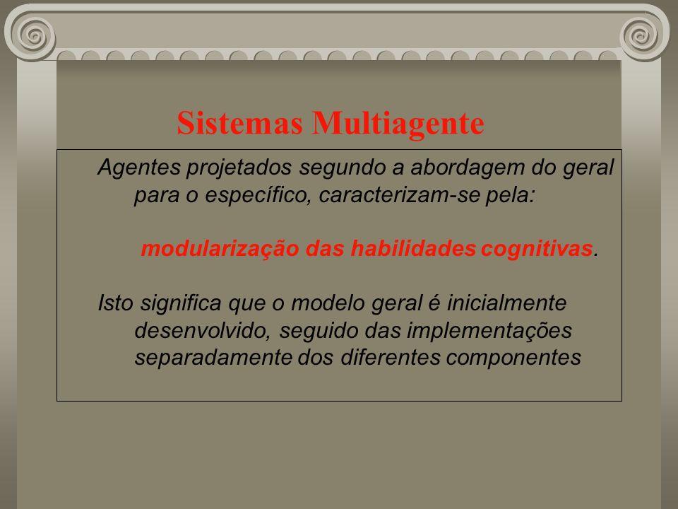 Sistemas Multiagente Agentes projetados segundo a abordagem do geral para o específico, caracterizam-se pela: modularização das habilidades cognitivas