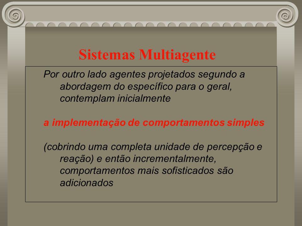 Sistemas Multiagente Por outro lado agentes projetados segundo a abordagem do específico para o geral, contemplam inicialmente a implementação de comp