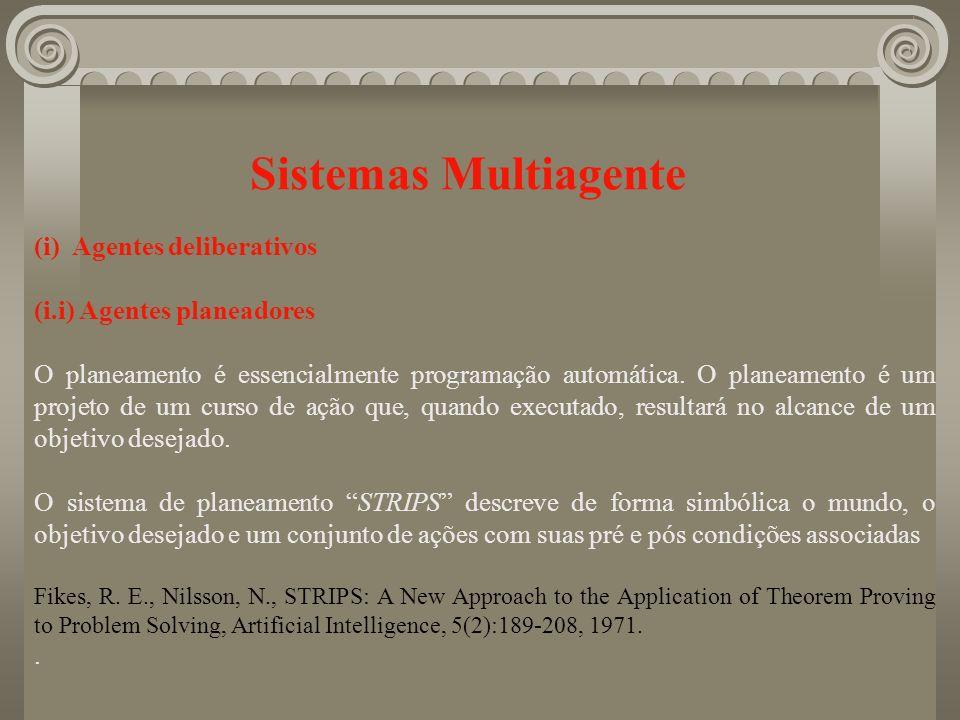 Sistemas Multiagente (i) Agentes deliberativos (i.i) Agentes planeadores O planeamento é essencialmente programação automática. O planeamento é um pro