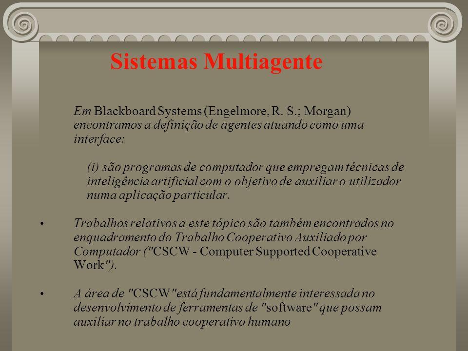 Sistemas Multiagente Em Blackboard Systems (Engelmore, R. S.; Morgan) encontramos a definição de agentes atuando como uma interface: (i) são programas
