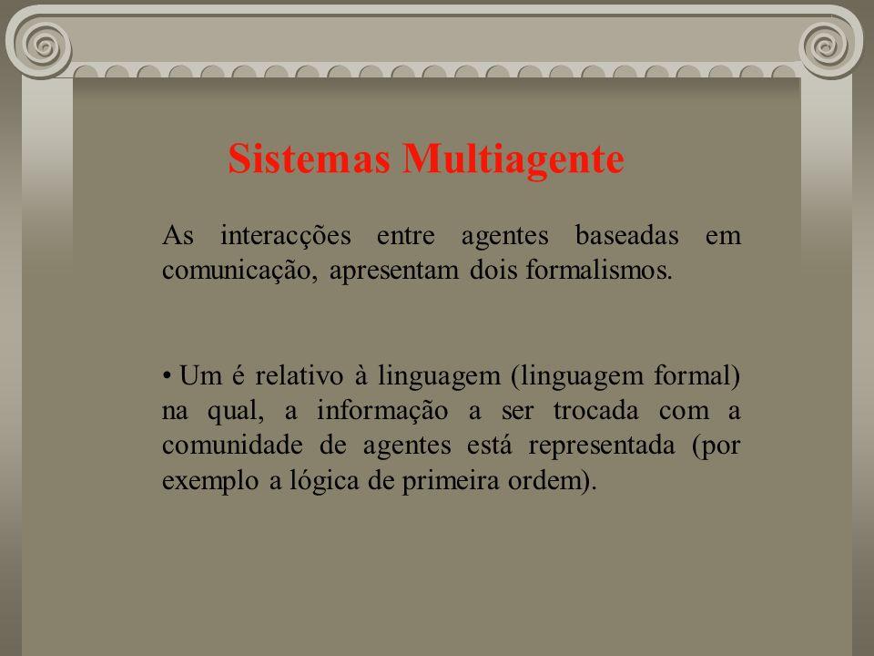 Sistemas Multiagente As interacções entre agentes baseadas em comunicação, apresentam dois formalismos. Um é relativo à linguagem (linguagem formal) n