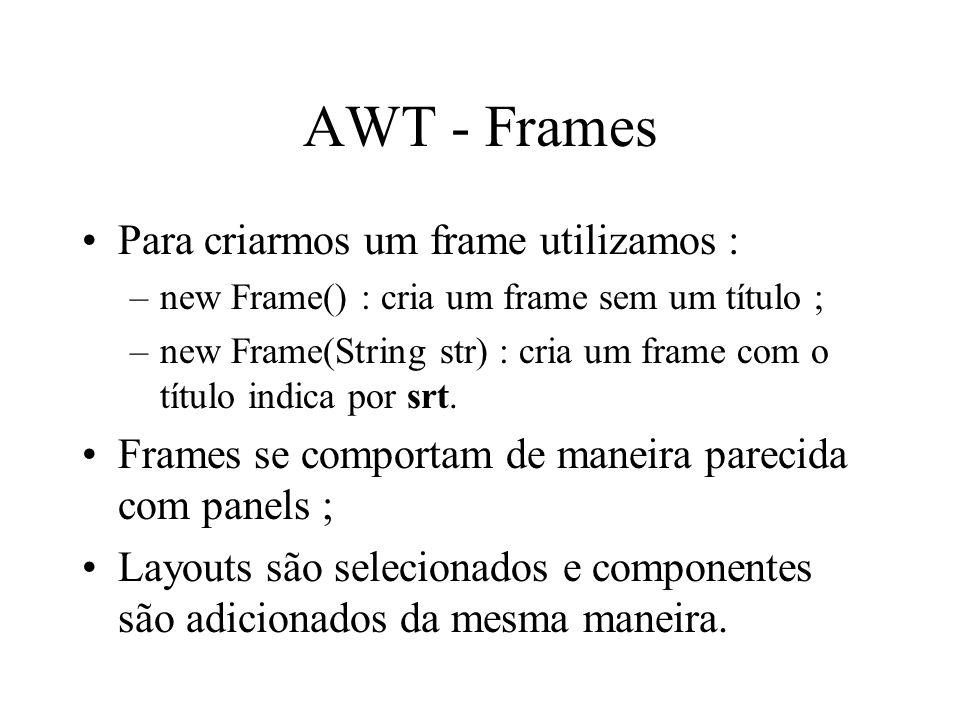 AWT - Frames Para criarmos um frame utilizamos : –new Frame() : cria um frame sem um título ; –new Frame(String str) : cria um frame com o título indi