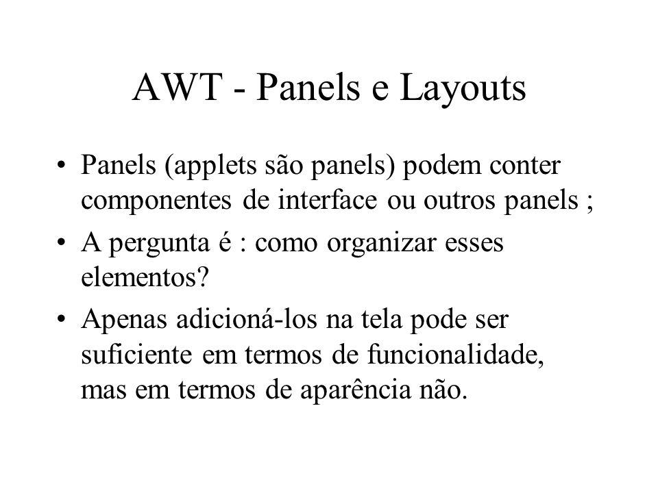 AWT - Panels e Layouts Panels (applets são panels) podem conter componentes de interface ou outros panels ; A pergunta é : como organizar esses elemen
