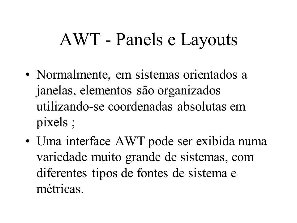 AWT - Panels e Layouts Normalmente, em sistemas orientados a janelas, elementos são organizados utilizando-se coordenadas absolutas em pixels ; Uma in