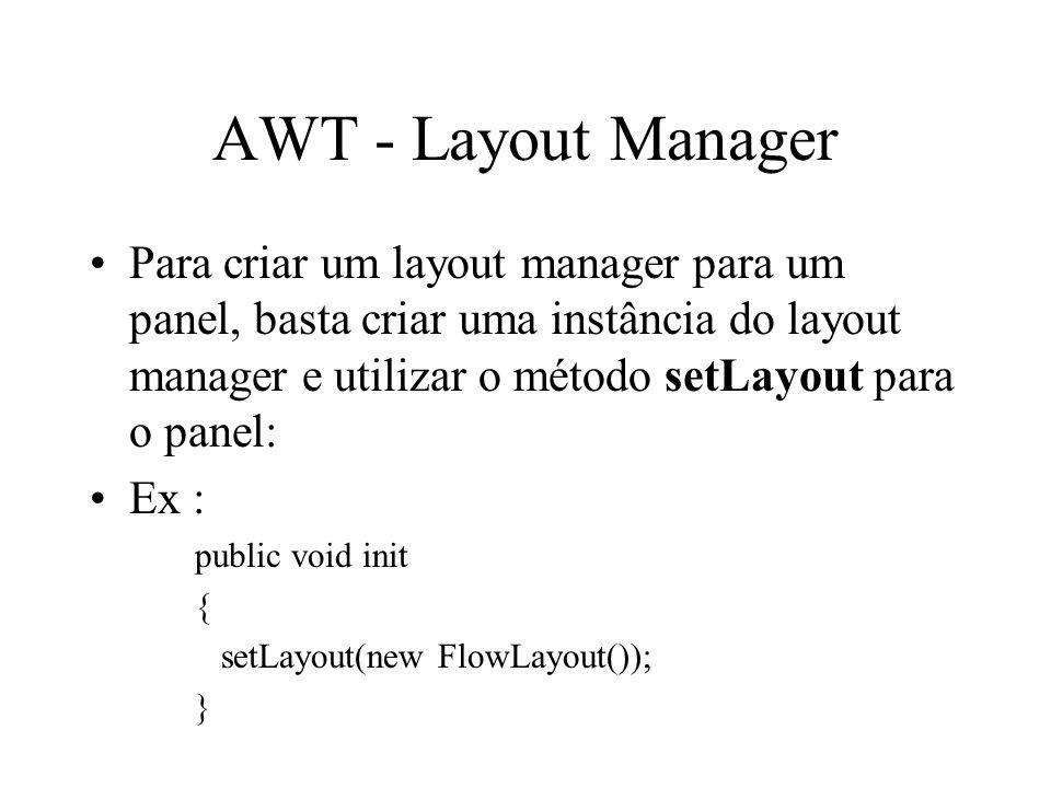 AWT - Layout Manager Para criar um layout manager para um panel, basta criar uma instância do layout manager e utilizar o método setLayout para o pane