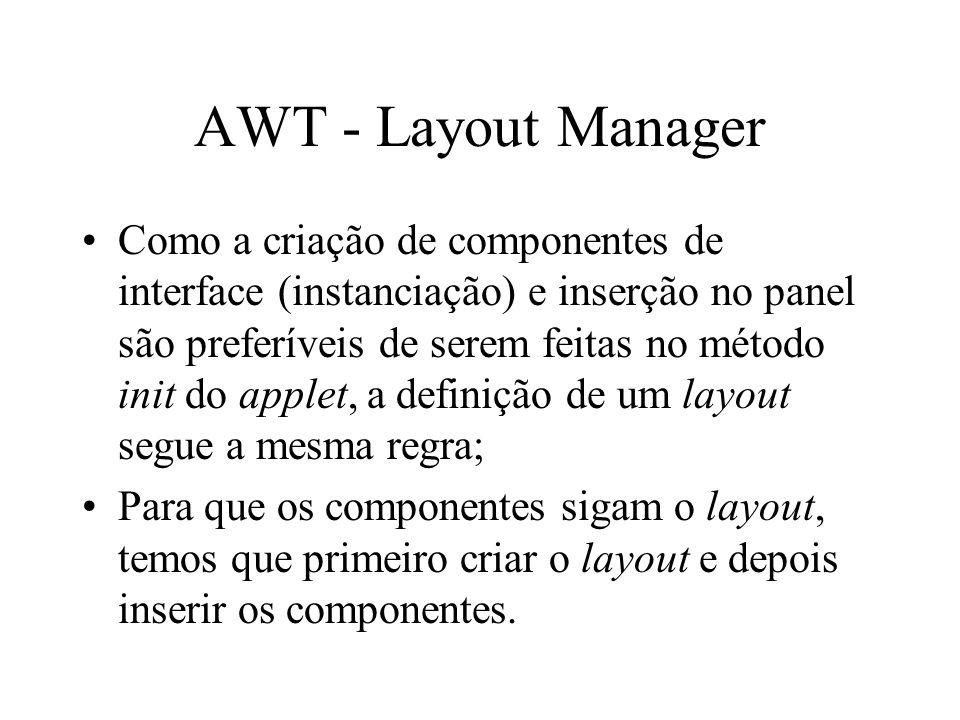 AWT - Layout Manager Como a criação de componentes de interface (instanciação) e inserção no panel são preferíveis de serem feitas no método init do a