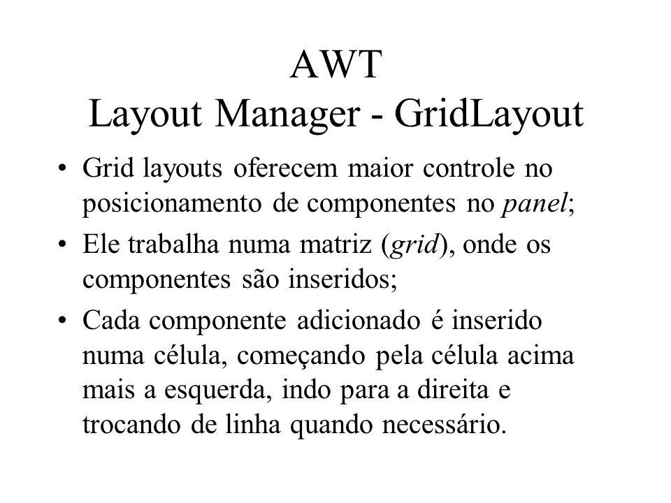 AWT Layout Manager - GridLayout Grid layouts oferecem maior controle no posicionamento de componentes no panel; Ele trabalha numa matriz (grid), onde