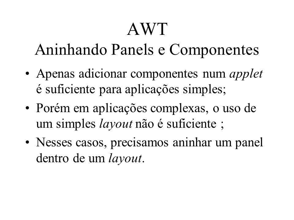 AWT Aninhando Panels e Componentes Apenas adicionar componentes num applet é suficiente para aplicações simples; Porém em aplicações complexas, o uso