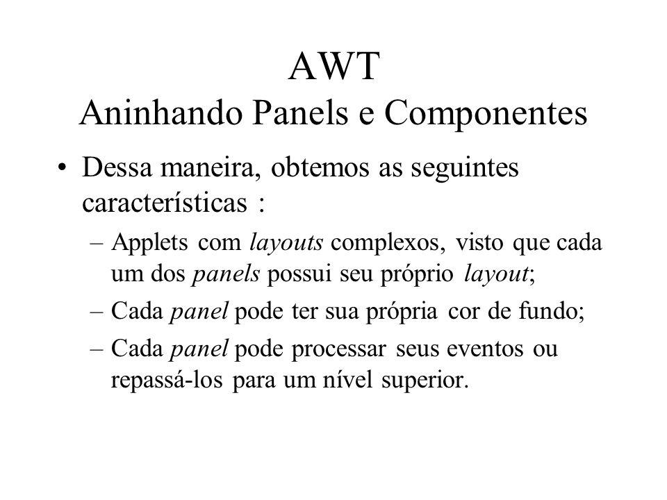 AWT Aninhando Panels e Componentes Dessa maneira, obtemos as seguintes características : –Applets com layouts complexos, visto que cada um dos panels