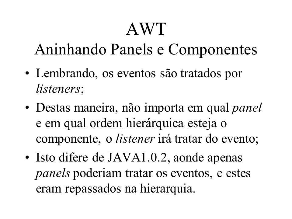 AWT Aninhando Panels e Componentes Lembrando, os eventos são tratados por listeners; Destas maneira, não importa em qual panel e em qual ordem hierárq