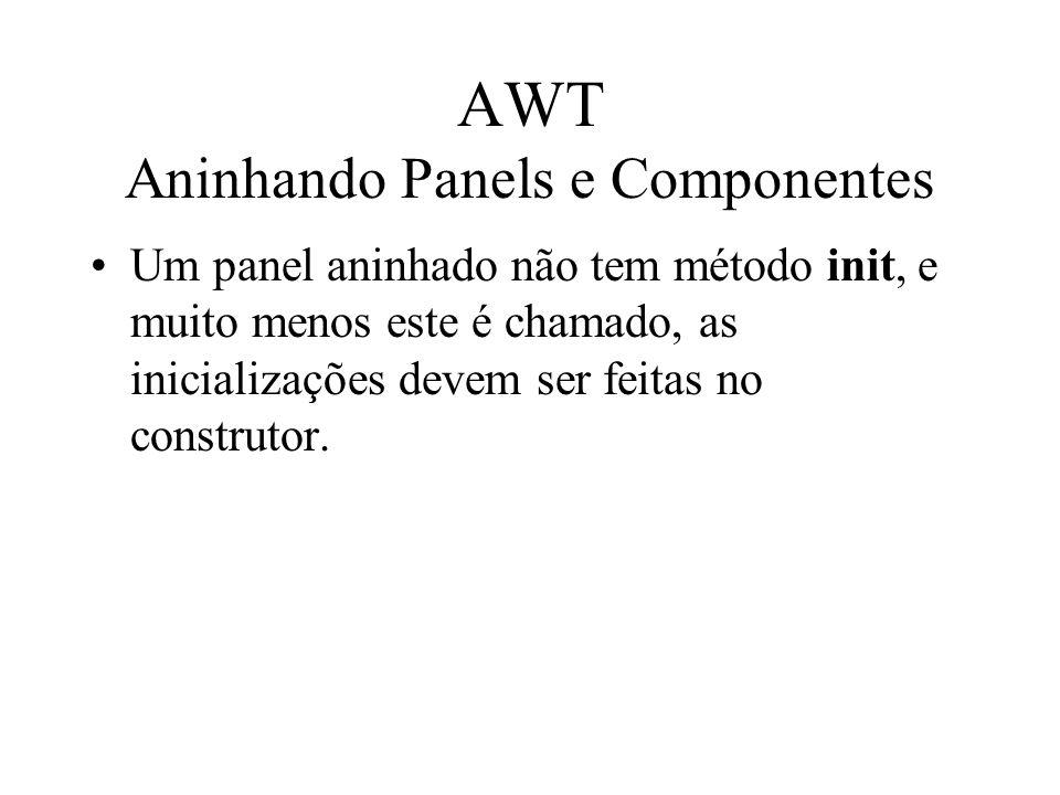 AWT Aninhando Panels e Componentes Um panel aninhado não tem método init, e muito menos este é chamado, as inicializações devem ser feitas no construt