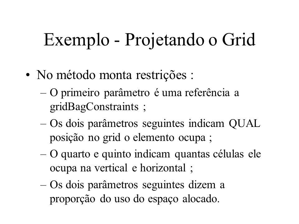 Exemplo - Projetando o Grid No método monta restrições : –O primeiro parâmetro é uma referência a gridBagConstraints ; –Os dois parâmetros seguintes i