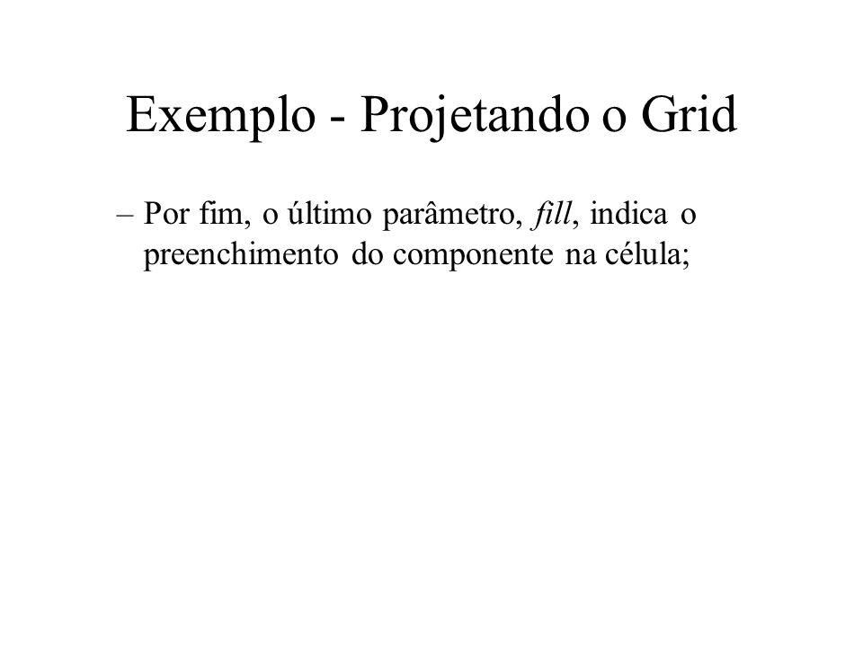 Exemplo - Projetando o Grid –Por fim, o último parâmetro, fill, indica o preenchimento do componente na célula;
