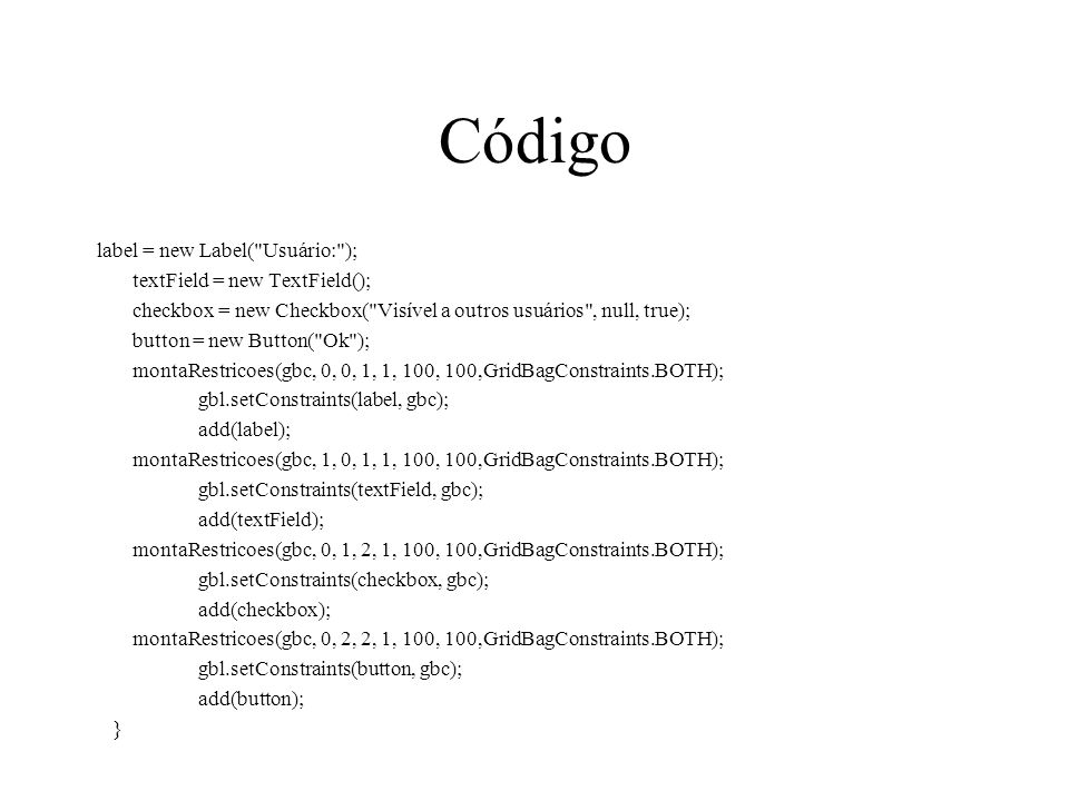 Código label = new Label(