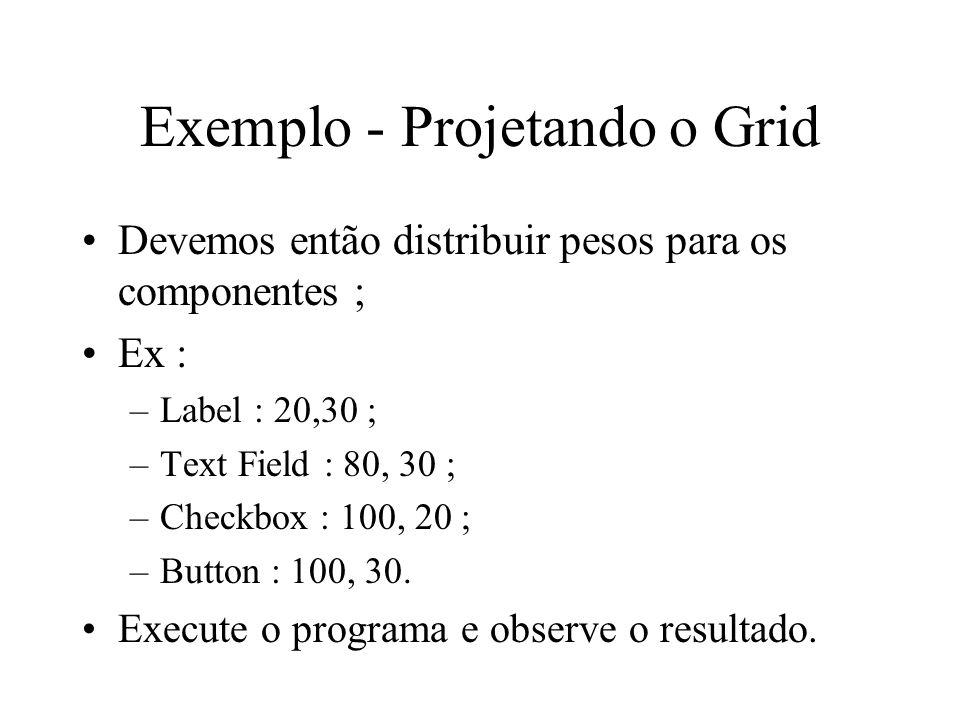 Exemplo - Projetando o Grid Devemos então distribuir pesos para os componentes ; Ex : –Label : 20,30 ; –Text Field : 80, 30 ; –Checkbox : 100, 20 ; –B