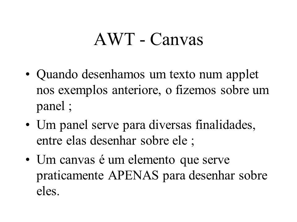 AWT - Canvas Quando desenhamos um texto num applet nos exemplos anteriore, o fizemos sobre um panel ; Um panel serve para diversas finalidades, entre
