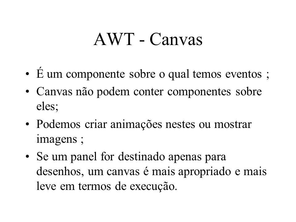 AWT - Canvas É um componente sobre o qual temos eventos ; Canvas não podem conter componentes sobre eles; Podemos criar animações nestes ou mostrar im