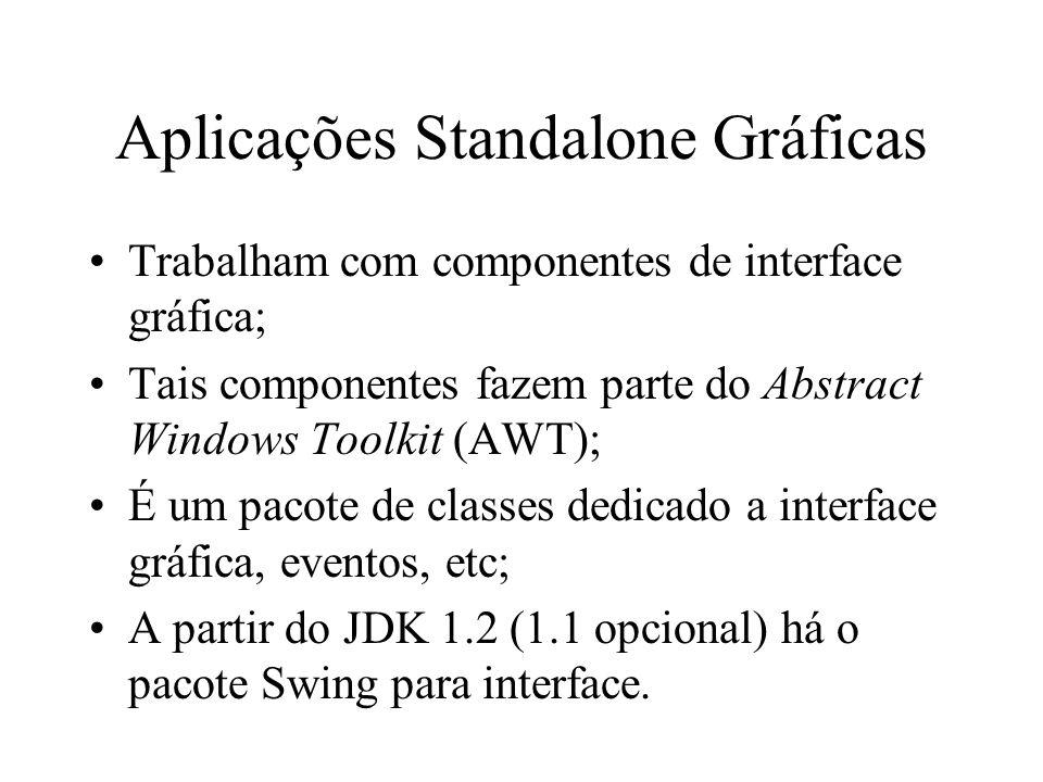 Aplicações Standalone Gráficas Trabalham com componentes de interface gráfica; Tais componentes fazem parte do Abstract Windows Toolkit (AWT); É um pa