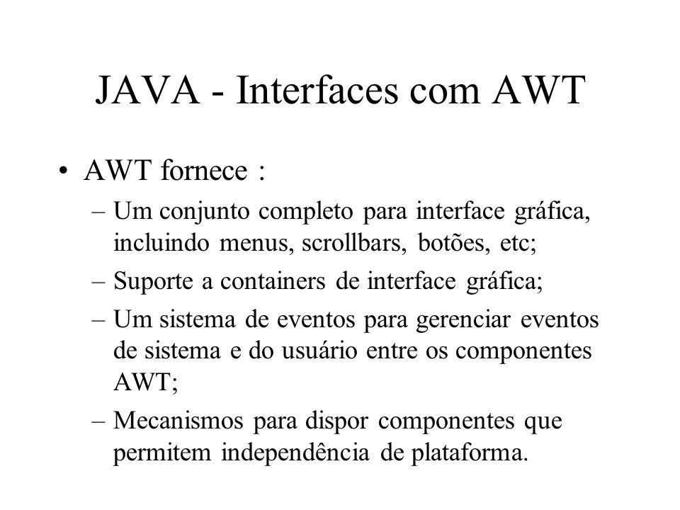 JAVA - Interfaces com AWT AWT fornece : –Um conjunto completo para interface gráfica, incluindo menus, scrollbars, botões, etc; –Suporte a containers