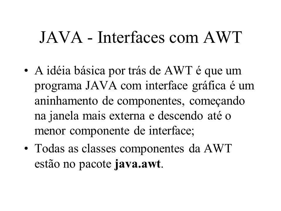 JAVA - Interfaces com AWT A idéia básica por trás de AWT é que um programa JAVA com interface gráfica é um aninhamento de componentes, começando na ja