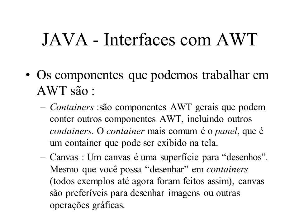 JAVA - Interfaces com AWT Os componentes que podemos trabalhar em AWT são : –Containers :são componentes AWT gerais que podem conter outros componente