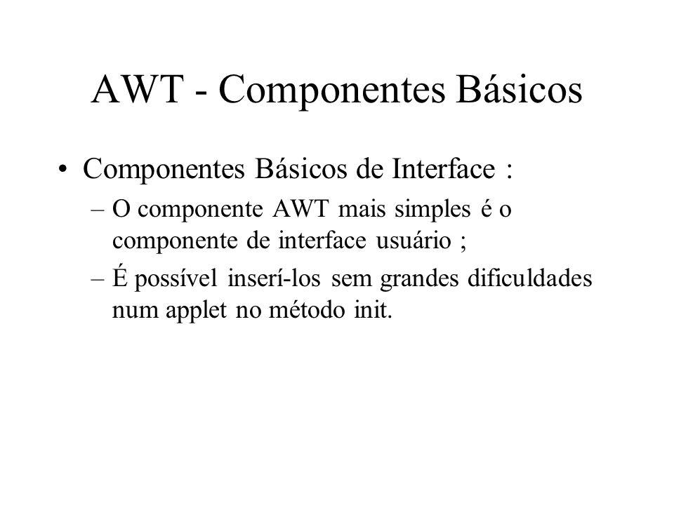 AWT - Componentes Básicos Componentes Básicos de Interface : –O componente AWT mais simples é o componente de interface usuário ; –É possível inserí-l
