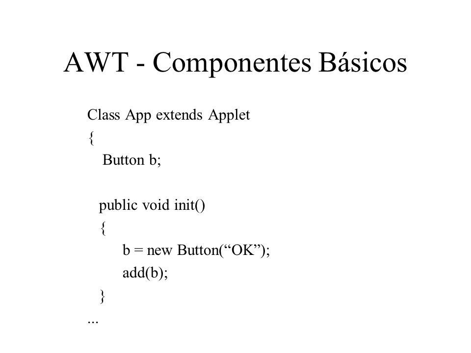 AWT - Componentes Básicos Class App extends Applet { Button b; public void init() { b = new Button(OK); add(b); }...