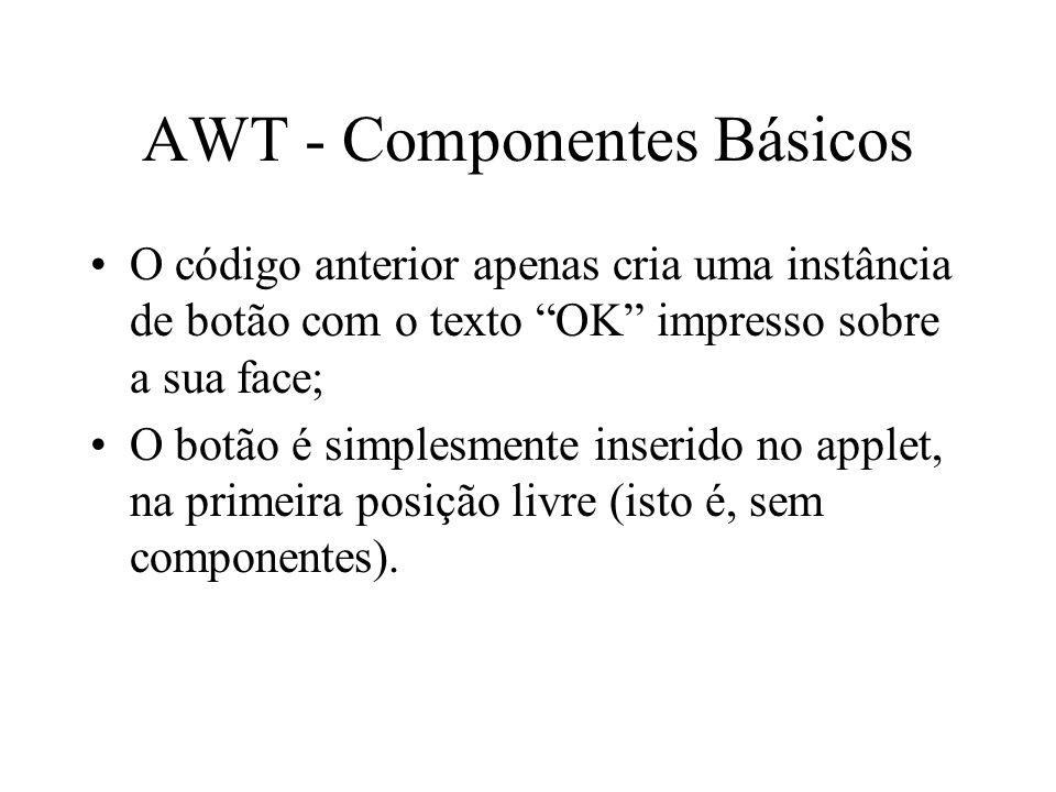 AWT - Componentes Básicos O código anterior apenas cria uma instância de botão com o texto OK impresso sobre a sua face; O botão é simplesmente inseri