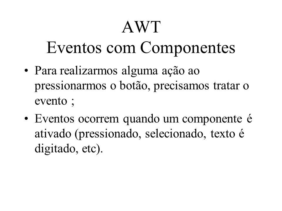 AWT Eventos com Componentes Para realizarmos alguma ação ao pressionarmos o botão, precisamos tratar o evento ; Eventos ocorrem quando um componente é