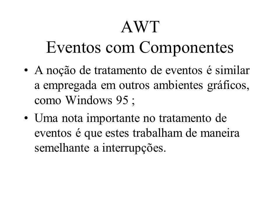 AWT Eventos com Componentes A noção de tratamento de eventos é similar a empregada em outros ambientes gráficos, como Windows 95 ; Uma nota importante