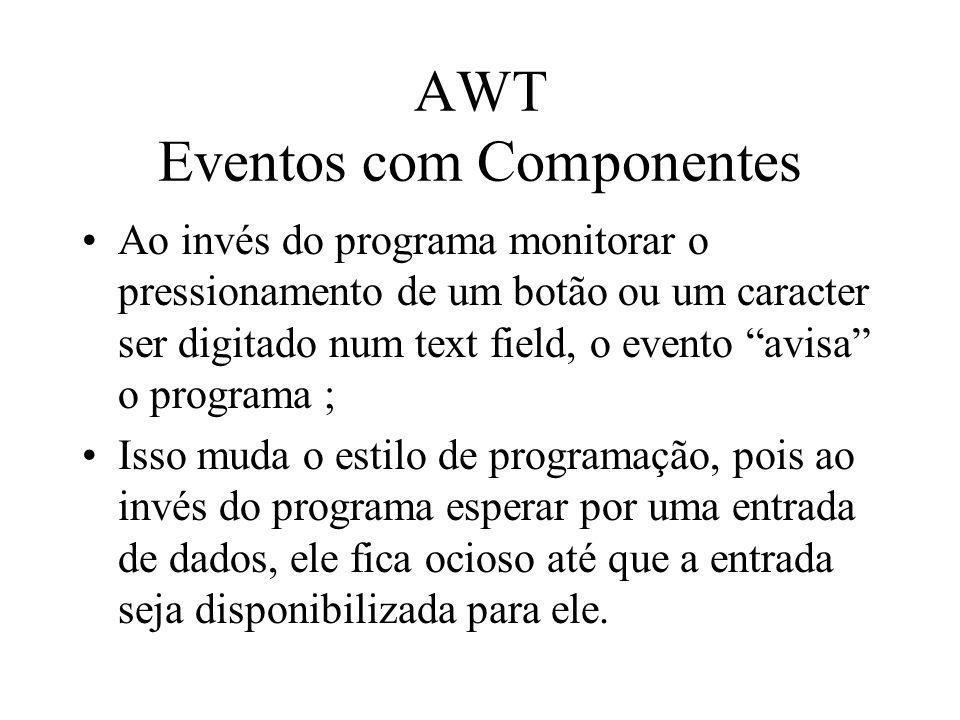 AWT Eventos com Componentes Ao invés do programa monitorar o pressionamento de um botão ou um caracter ser digitado num text field, o evento avisa o p