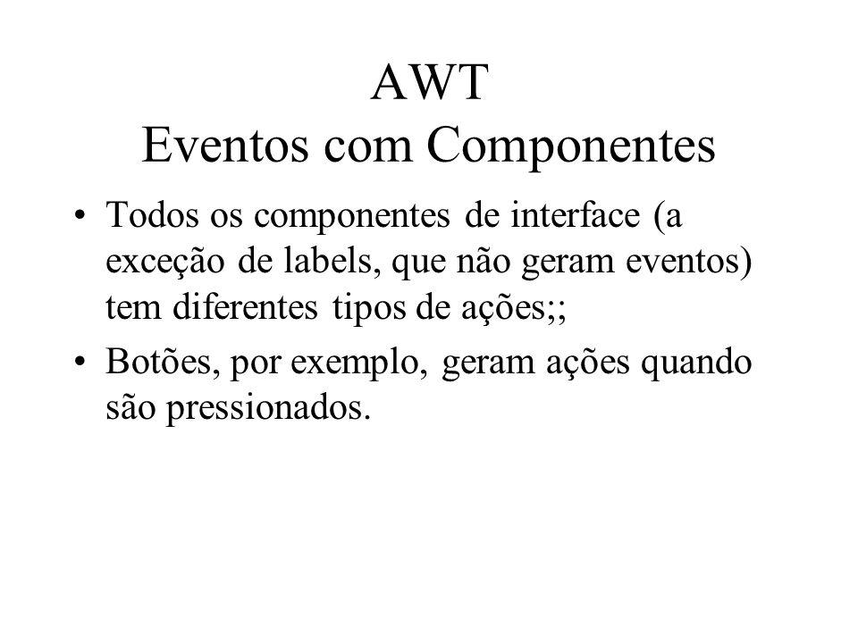 AWT Eventos com Componentes Todos os componentes de interface (a exceção de labels, que não geram eventos) tem diferentes tipos de ações;; Botões, por