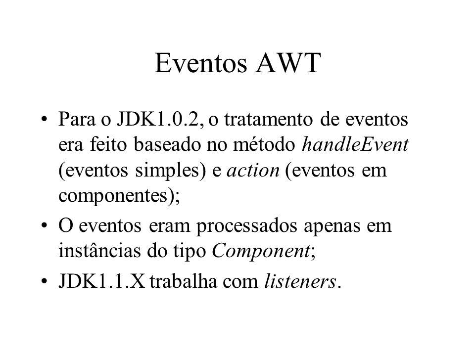Eventos AWT Para o JDK1.0.2, o tratamento de eventos era feito baseado no método handleEvent (eventos simples) e action (eventos em componentes); O ev