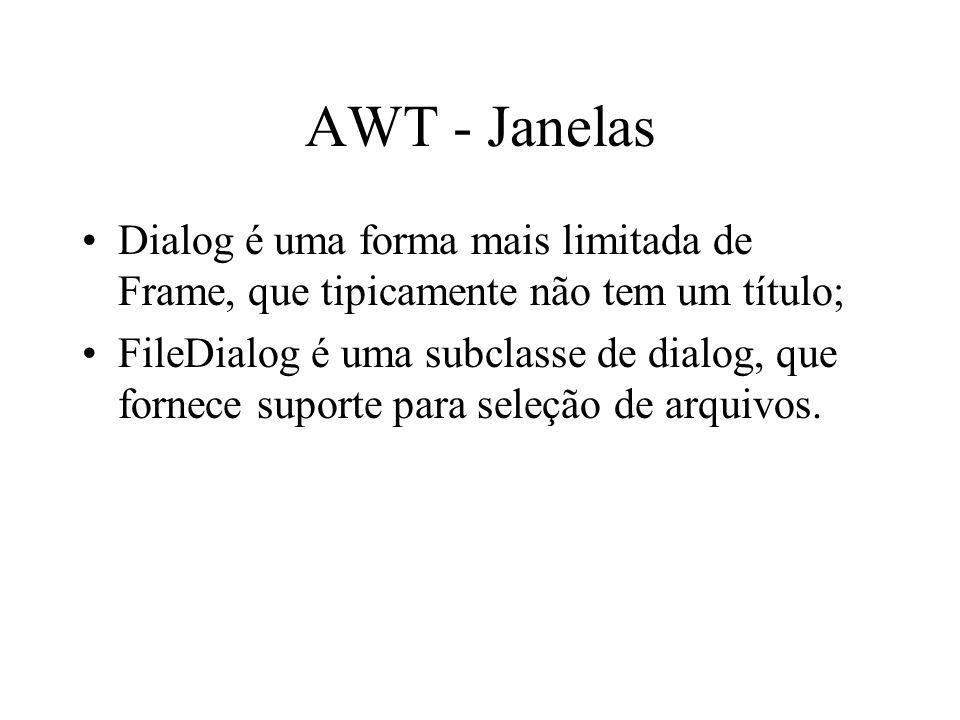AWT - Janelas Dialog é uma forma mais limitada de Frame, que tipicamente não tem um título; FileDialog é uma subclasse de dialog, que fornece suporte