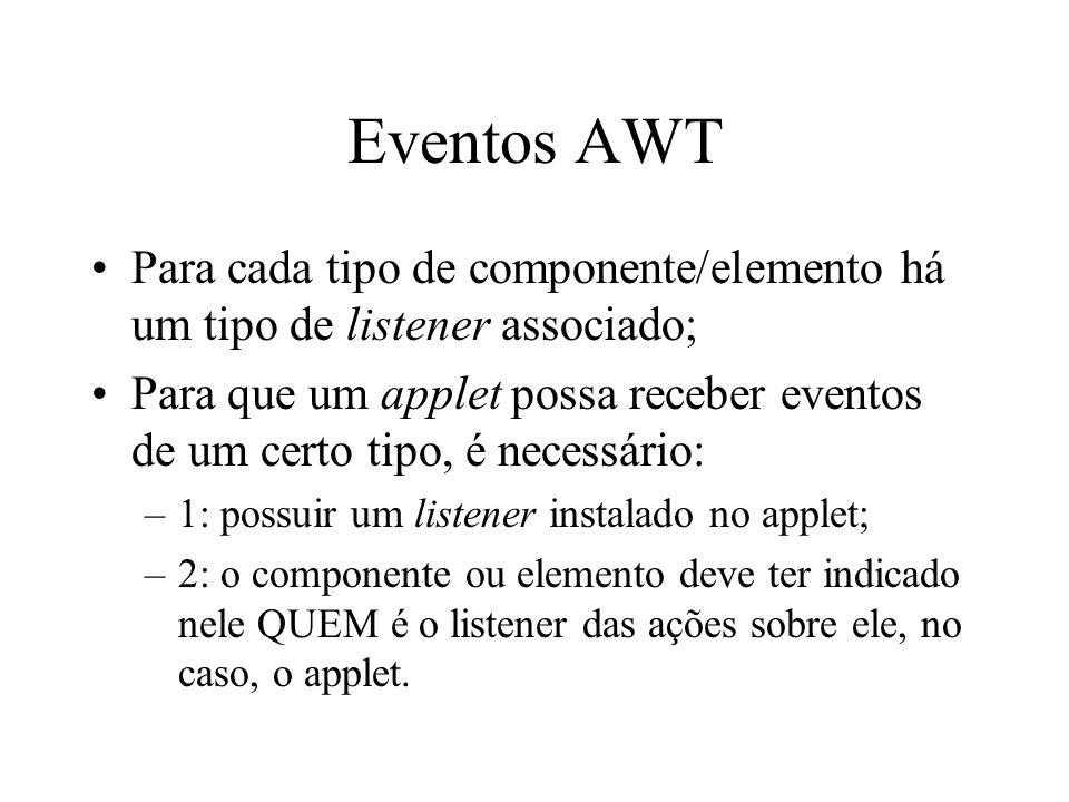 Eventos AWT Para cada tipo de componente/elemento há um tipo de listener associado; Para que um applet possa receber eventos de um certo tipo, é neces