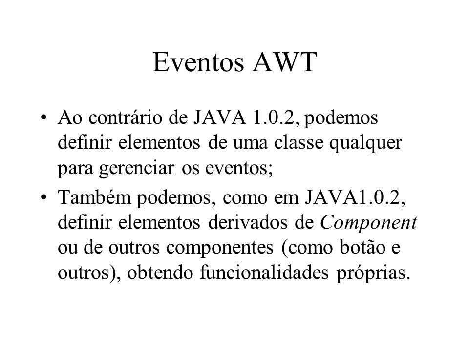 Eventos AWT Ao contrário de JAVA 1.0.2, podemos definir elementos de uma classe qualquer para gerenciar os eventos; Também podemos, como em JAVA1.0.2,