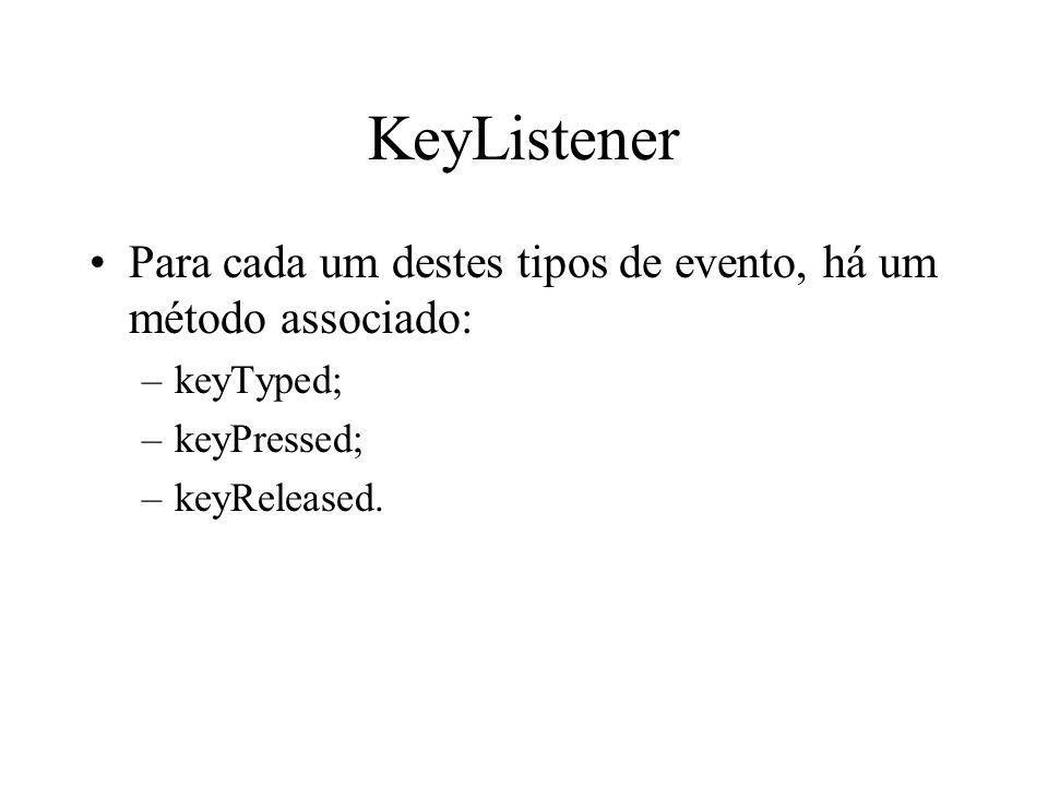KeyListener Para cada um destes tipos de evento, há um método associado: –keyTyped; –keyPressed; –keyReleased.