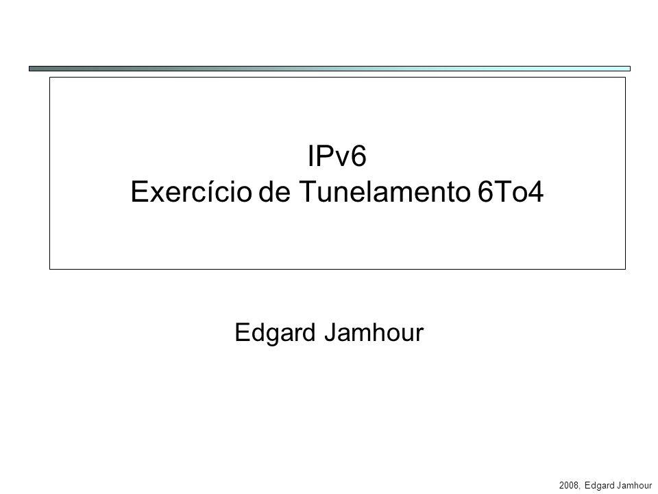 2008, Edgard Jamhour Cenário 1 Dois hosts IPv6 conectados pela Internet Rede IPv4 H1 H2 IPv4=aa.bb.cc.dd tun6to4 2002:aabb:ccdd:SID:/64 2002:xxyy:wwzz:SID:/64 20.0.0.0/8 eth0 tun6to4 eth0 IPv4=xx.yy.ww.zz Pacote IPv6 Pacote IPv4-IPv6 Pacote IPv6