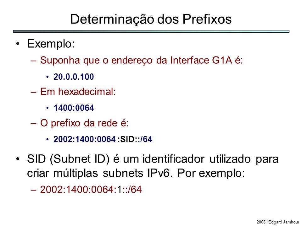 2008, Edgard Jamhour Determinação dos Prefixos Exemplo: –Suponha que o endereço da Interface G1A é: 20.0.0.100 –Em hexadecimal: 1400:0064 –O prefixo da rede é: 2002:1400:0064 :SID::/64 SID (Subnet ID) é um identificador utilizado para criar múltiplas subnets IPv6.
