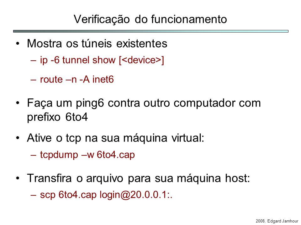 2008, Edgard Jamhour Verificação do funcionamento Mostra os túneis existentes –ip -6 tunnel show [ ] –route –n -A inet6 Faça um ping6 contra outro computador com prefixo 6to4 Ative o tcp na sua máquina virtual: –tcpdump –w 6to4.cap Transfira o arquivo para sua máquina host: –scp 6to4.cap login@20.0.0.1:.