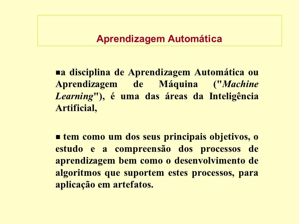 Aprendizagem Automática a disciplina de Aprendizagem Automática ou Aprendizagem de Máquina ( Machine Learning ), é uma das áreas da Inteligência Artificial, tem como um dos seus principais objetivos, o estudo e a compreensão dos processos de aprendizagem bem como o desenvolvimento de algoritmos que suportem estes processos, para aplicação em artefatos.