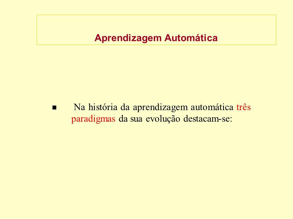 Aprendizagem Automática Na história da aprendizagem automática três paradigmas da sua evolução destacam-se: