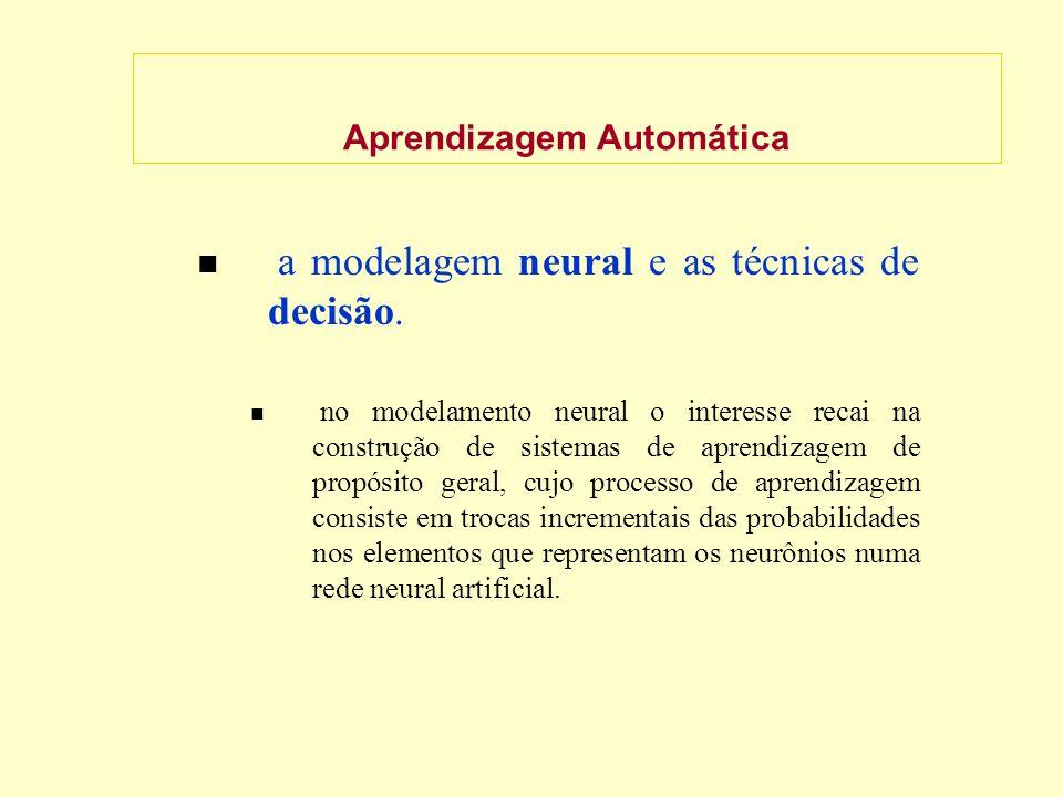 Aprendizagem Automática a modelagem neural e as técnicas de decisão.
